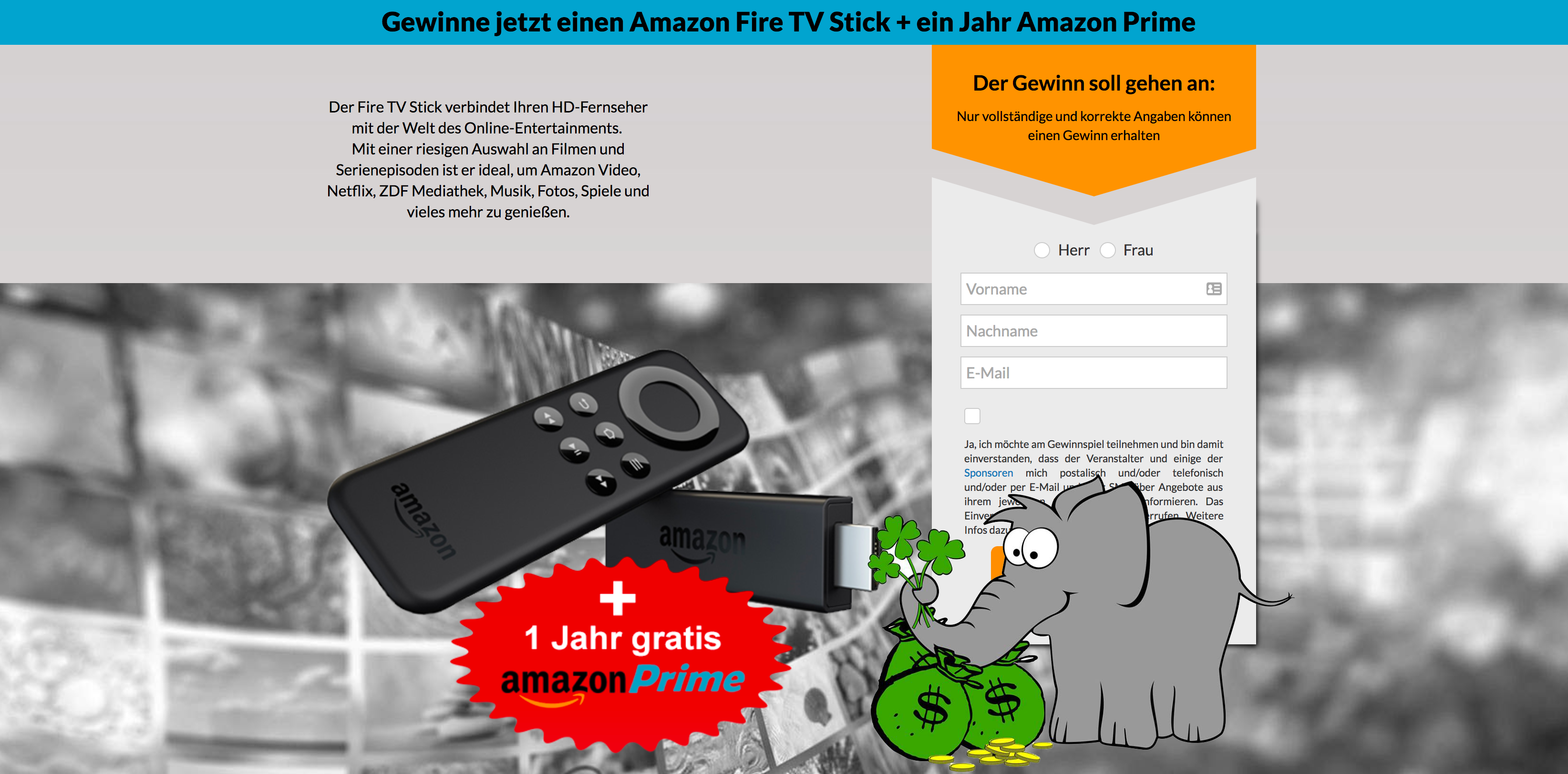 amazon fire stick 1 jahr prime zu gewinnen der gewinnofant. Black Bedroom Furniture Sets. Home Design Ideas