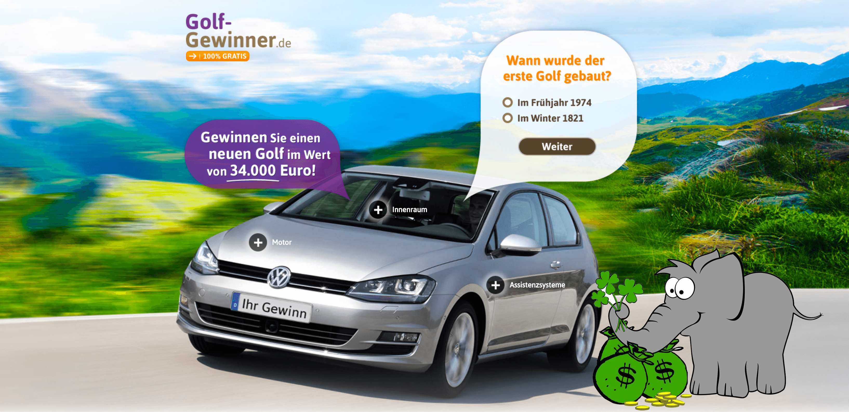 vw golf gewinnspiel mit vollausstattung der gewinnofant. Black Bedroom Furniture Sets. Home Design Ideas